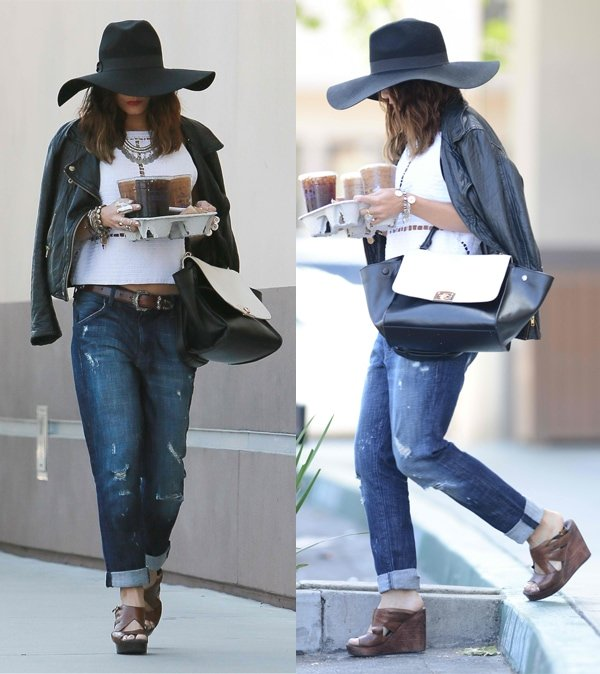 Vanessa Hudgens trying to go undetected wearing an oversized hat