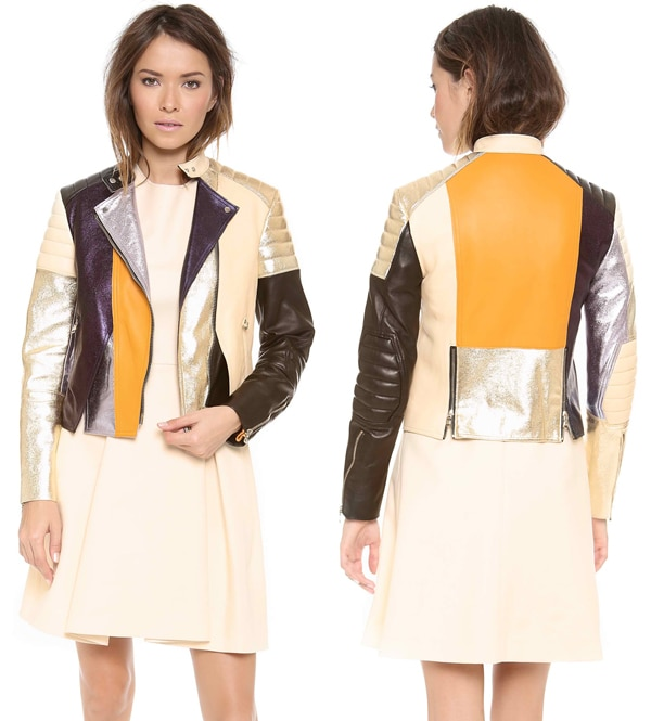 3 1 Phillip Lim Colorblocked Biker Jacket with Shoulder & Elbow Padding