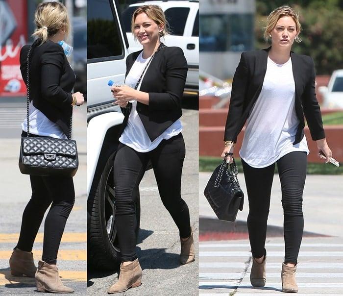 Hilary Duff leaving a tanning salon