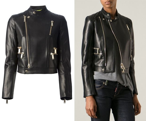 DSQUARED2 Cropped Calf Leather Jacket