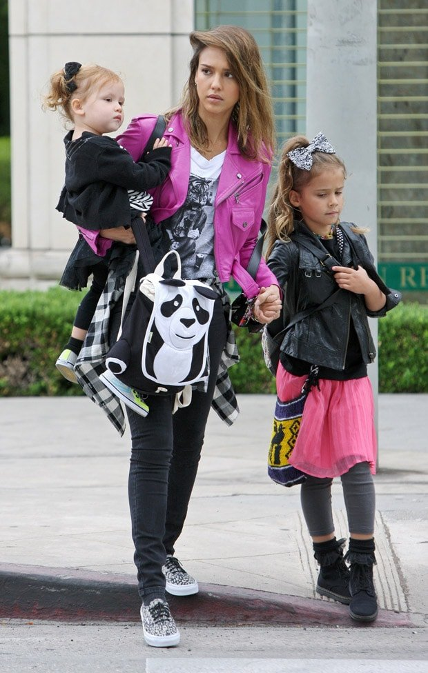 Jessica Alba takes her two daughters, Honor Marie Warren and Haven Garner Warren, out for breakfast
