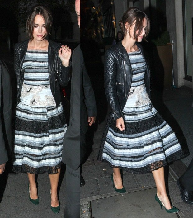 Keira Knightley wears a quilted Balenciaga motorcycle jacket with a Michael Van Der Ham Spring 2015 tiered embellished dress