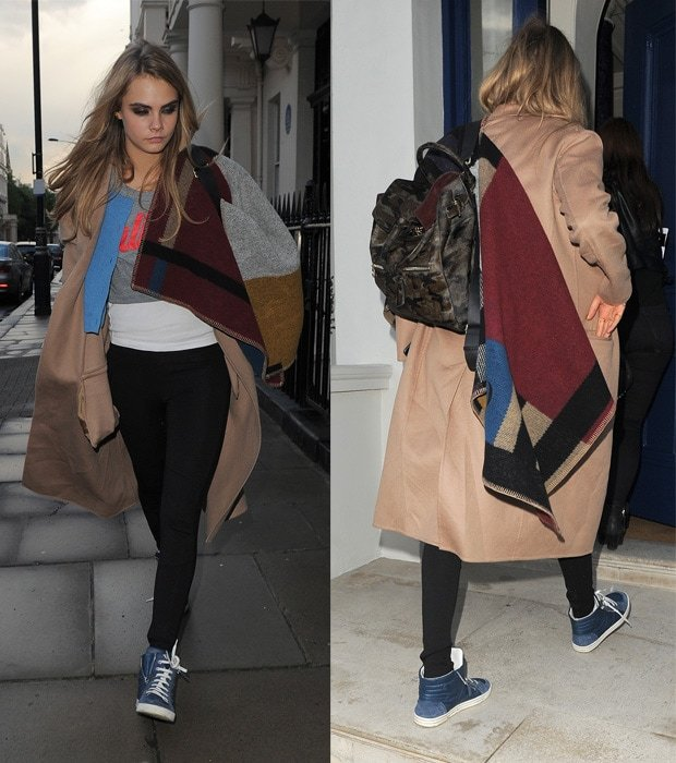 Cara Delevingne arriving home after session at North London studio in London on May 12, 2014