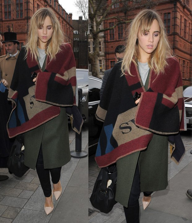 Suki Waterhouse arrives back at her hotel in London on February 17, 2014