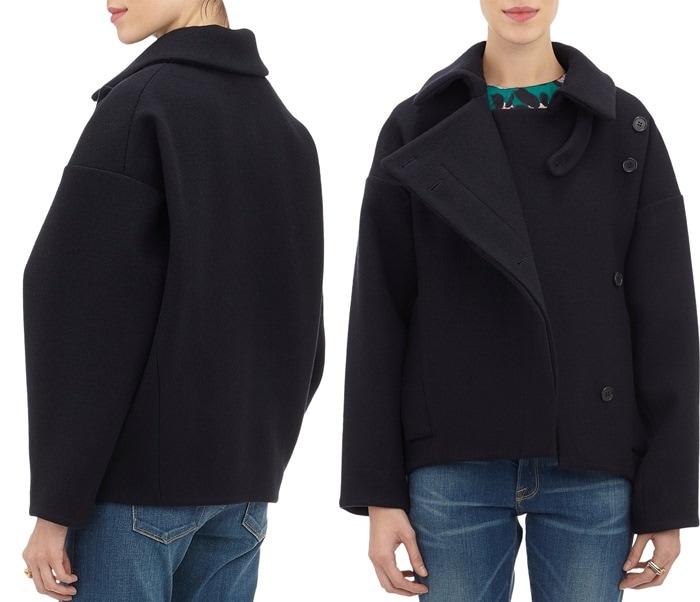 Marni Blue Asymmetric-front Felt Jacket