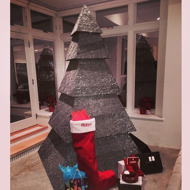 Rihanna's Christmas tree is a black multi-tiered pyramid tree encrusted with crystals