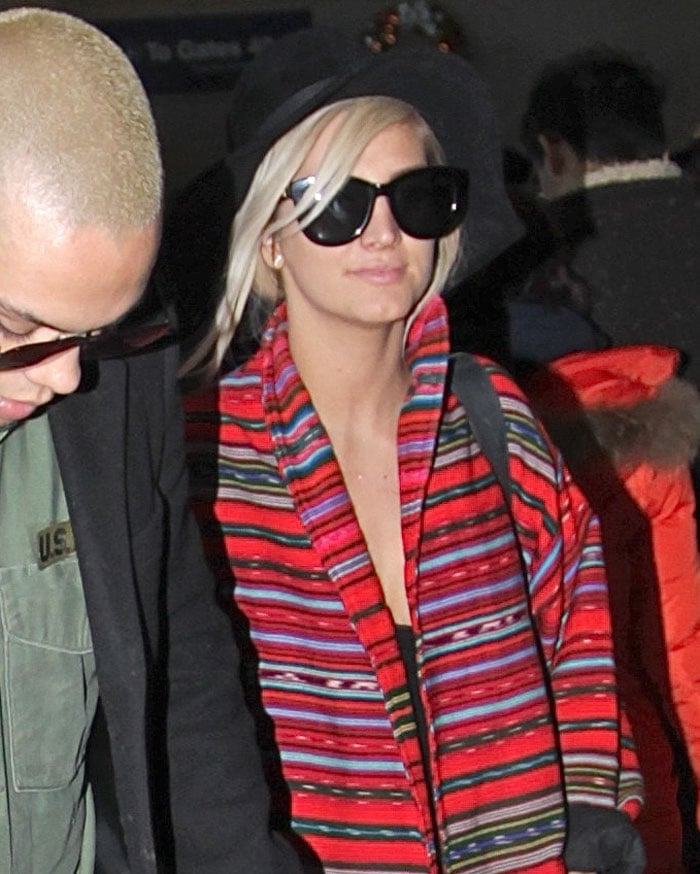Ashlee Simpson and Evan Ross at Los Angeles International Airport