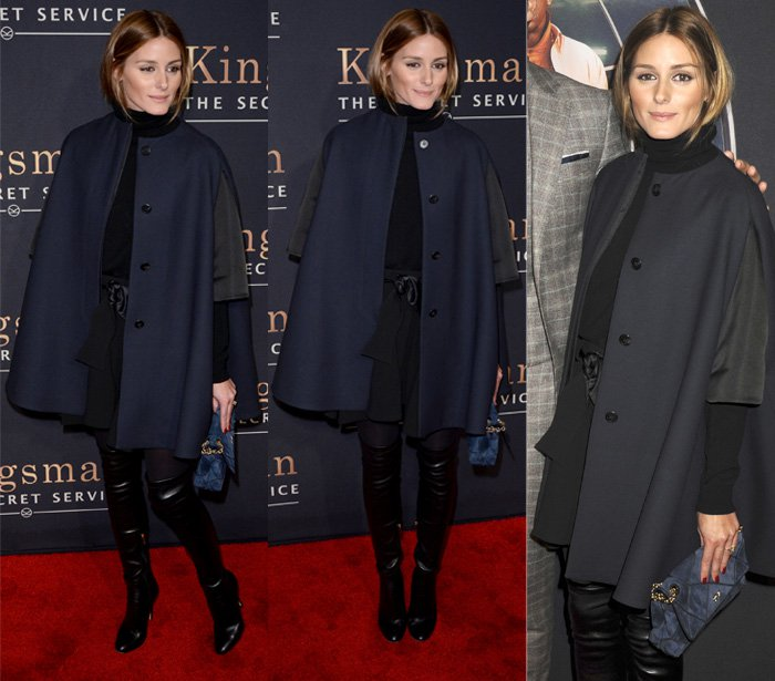 "Olivia Palermo in a sweeping navy cape attends the ""Kingsman: The Secret Service"" New York Premiere"