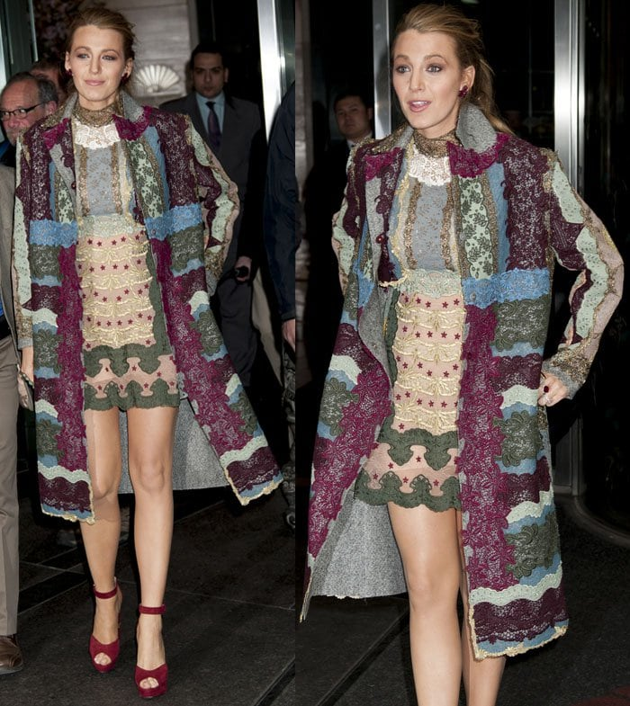 Blake Lively leaves her hotel in a long embroidered coat with matching dress in New York on April 21, 2015
