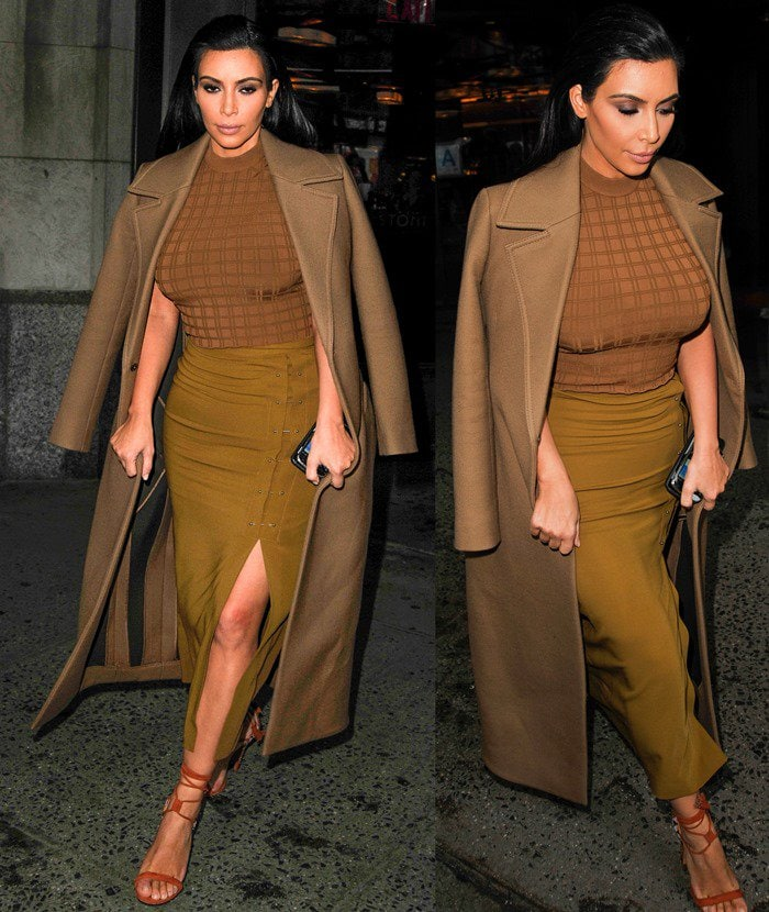 Kim Kardashian leaving a restaurant in New York City