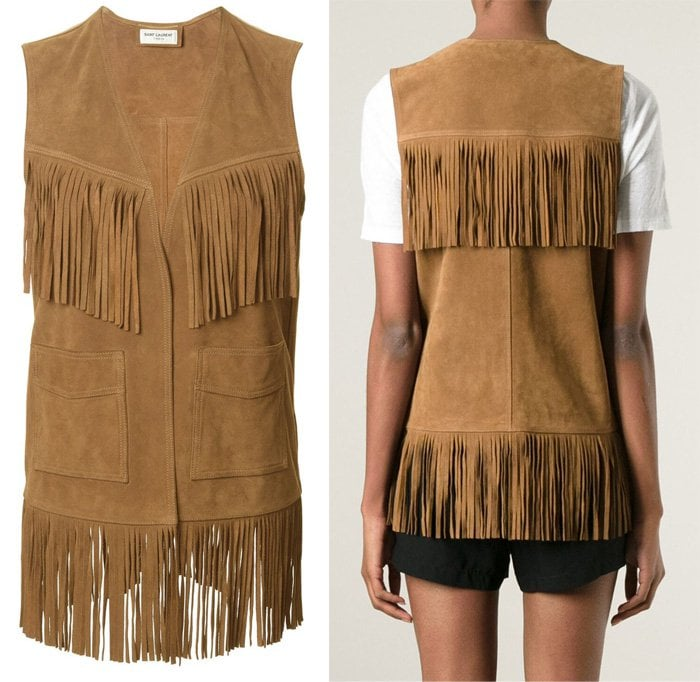 Saint Laurent Long Fringed Waistcoat