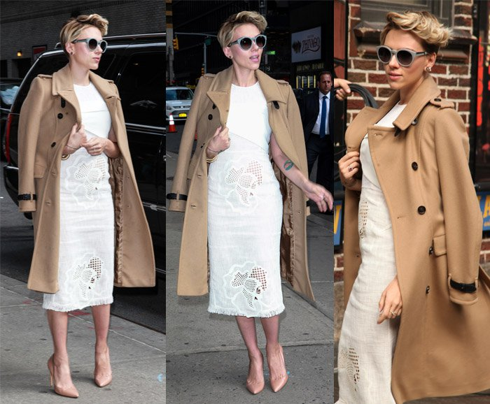 Scarlett Johansson arriving at the 'Late Show with David Letterman' in New York on April 27, 2015