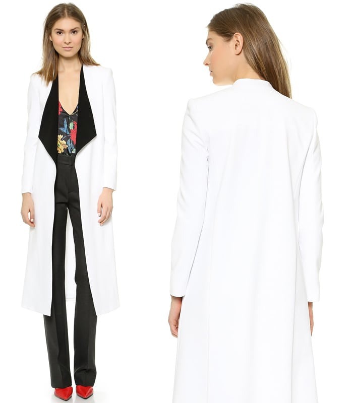 alice + olivia Long Draped Shawl Collar Coat