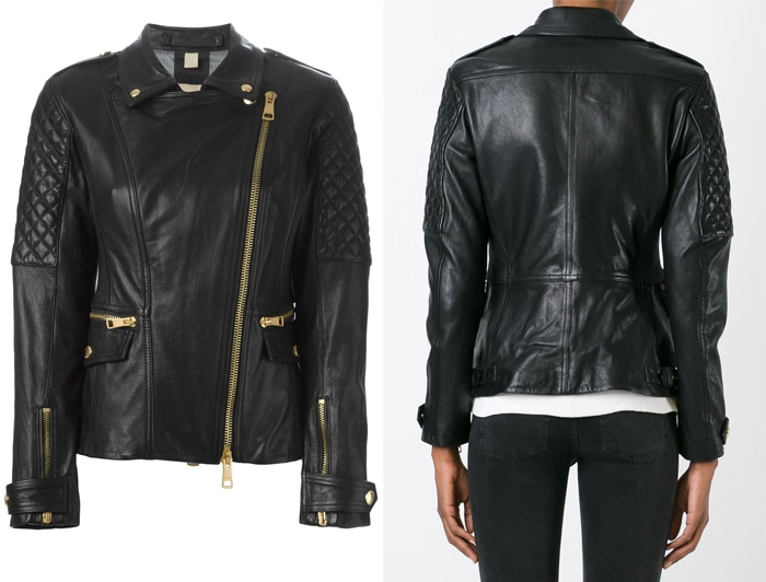 Burberry Brit Quilted Sleeve Biker Jacket
