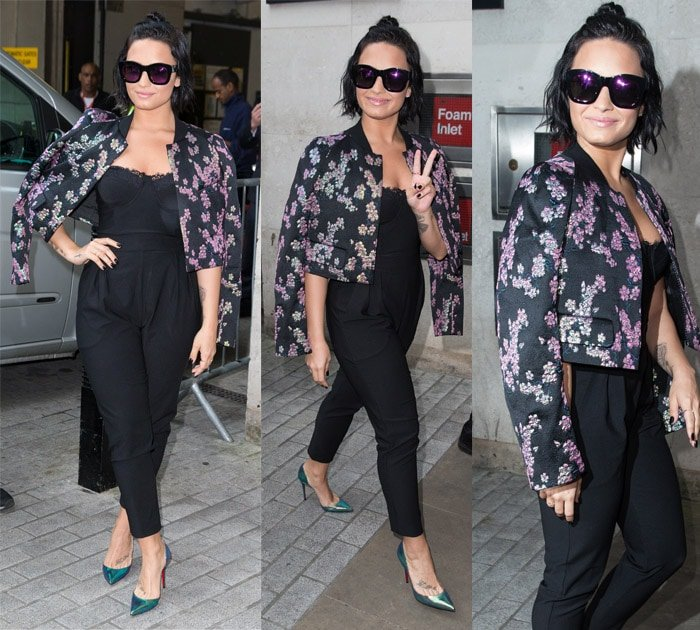 Demi Lovato looked fresh and perky in a pair of House of CB Pietrina lace strapless bustier jumpsuit that she spruced up with a Dries van Noten Bangalore floral brocade jacket