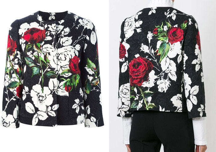 Dolce & Gabbana Rose Print Brocade Jacket