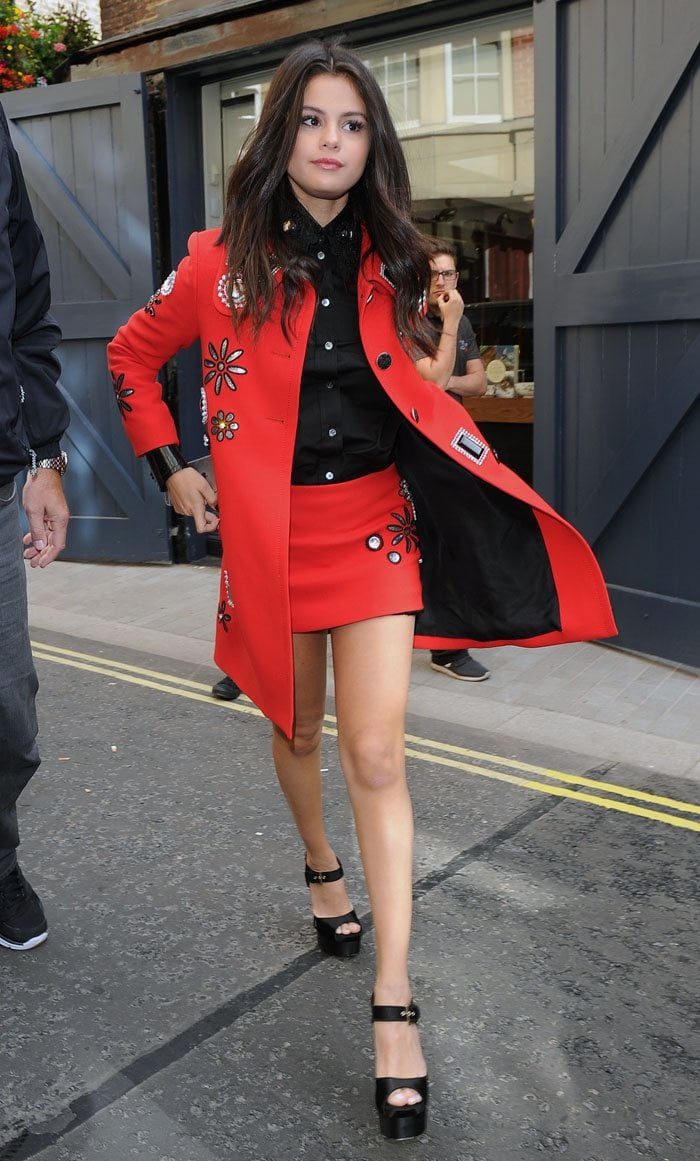 Selena Gomez spends the day promoting her new music in London. She visited Radio 1, Vevo, and a management office