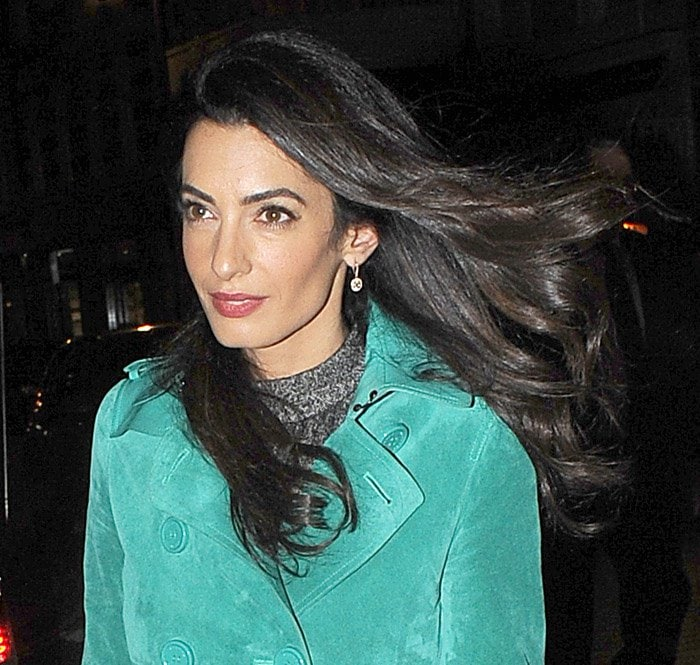 Amal Clooney leaves the Frontline Club and arrives at Roka restaurant