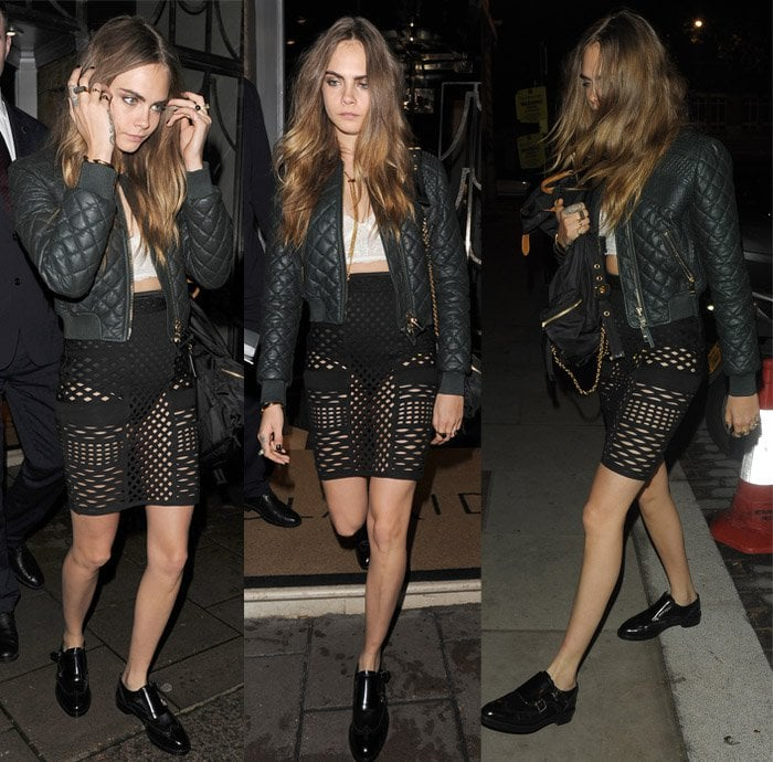 Cara Delevingne wore a quilted leather jacket at the Love Magazine Party