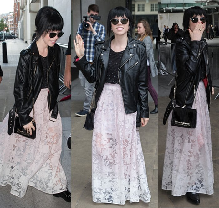 Carly Rae Jepsen pictured leaving the Radio 1 studios in a below-the-waist leather jacket