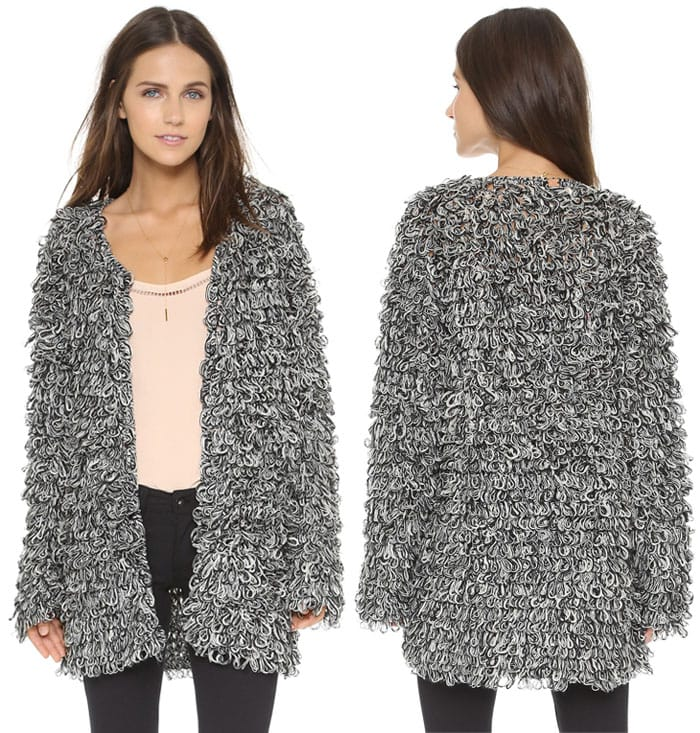 For Love & Lemons Knitz Joplin Cardigan in Heather Grey
