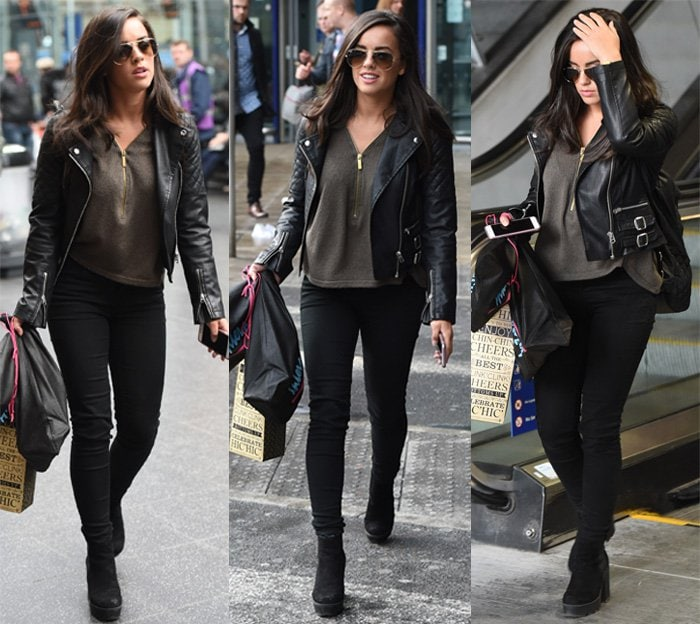 Georgia May Foote arrives at Manchester Piccadilly station after rehearsals for 'Strictly Come Dancing'
