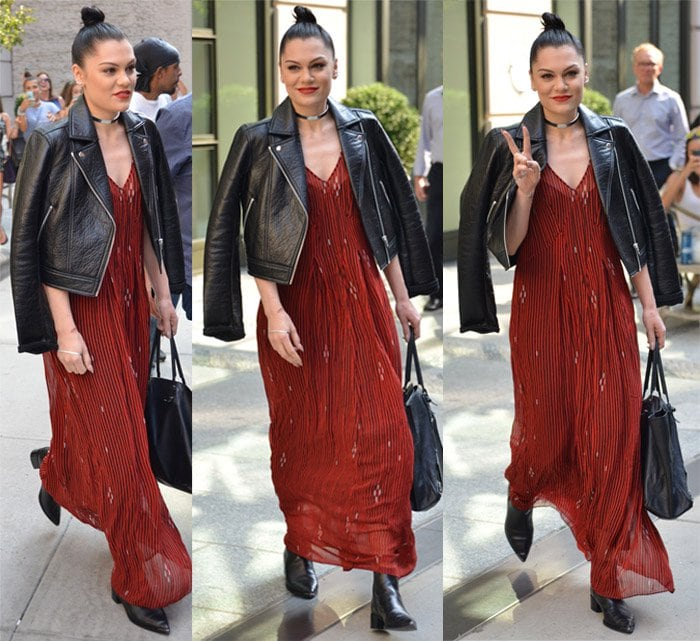 Jesse J wore a maxi dress with a leather jacket