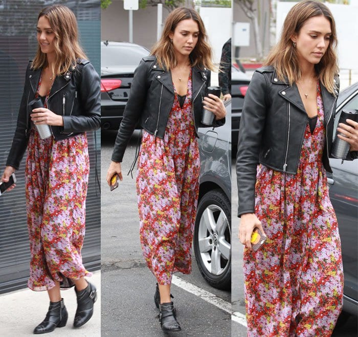 Jessica Alba wears a cropped motorcycle jacket
