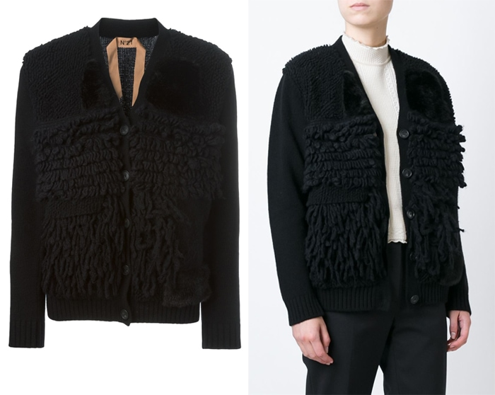 N 21 Contrasting Textured Panels Cardigan