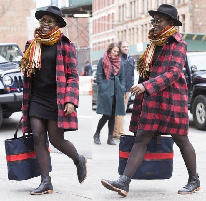 Lupita Nyongo gingham coat1