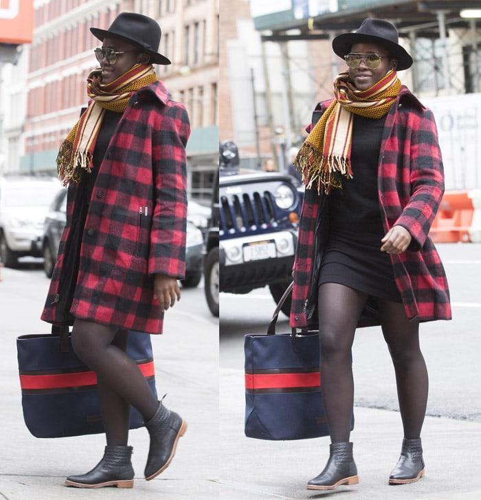 Lupita Nyongo gingham coat2