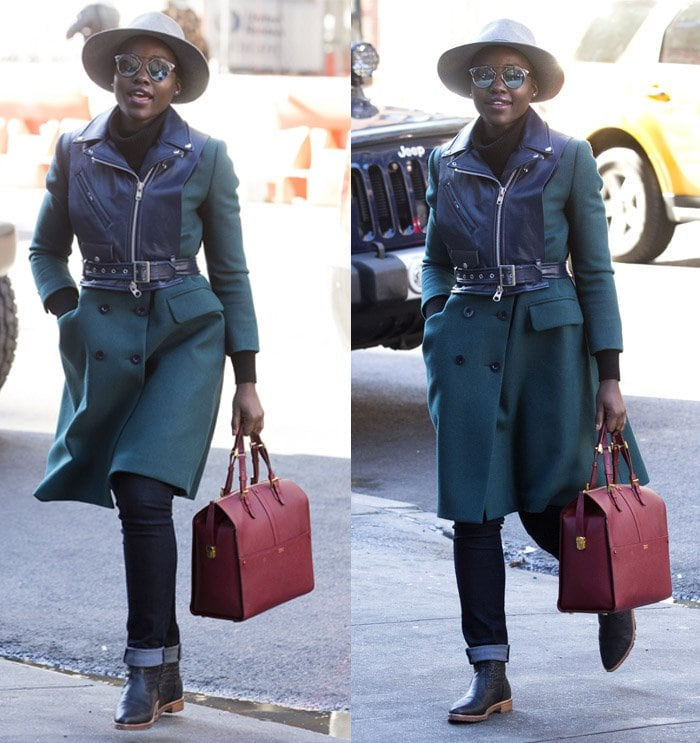 Lupita Nyongo green coat1