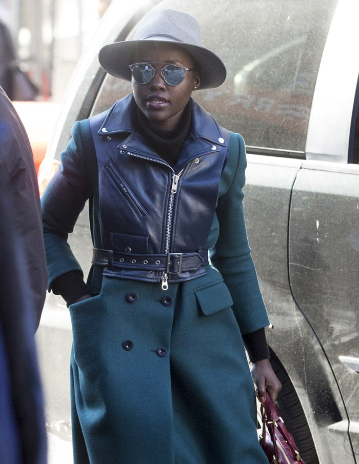 Lupita Nyong'o arrives at the Public Theater for the matinee of 'Eclipsed'