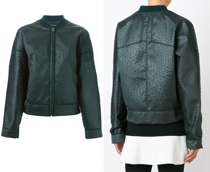 Cedric Charlier Ostrich Texture Bomber Jacket