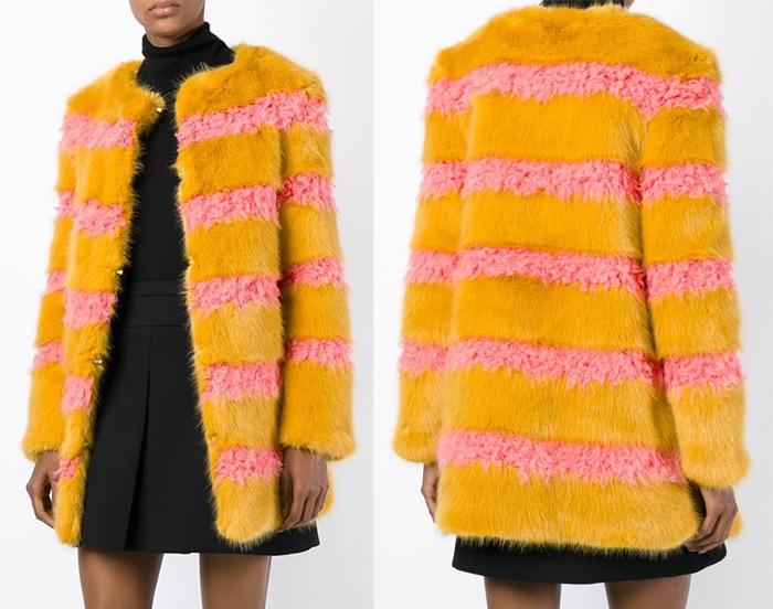 Shrimps Faux Fur Striped Coat