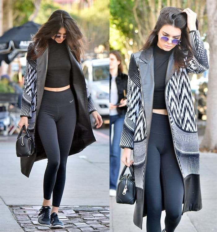 Kendall Jenner pairs an Express One Eleven mock neck cropped t-shirt with a beautiful Sass & Bide mixed media coat