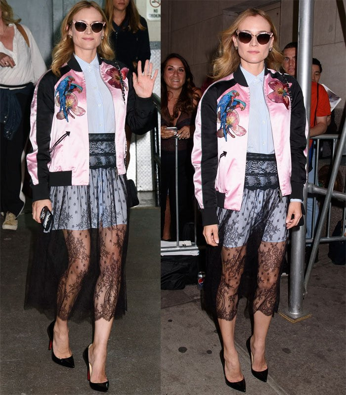 Diane Kruger wore a bomber jacket over a long button-down top and a sheer lace skirt