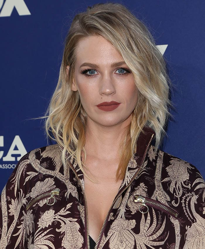January Jones wears a track bomber jacket while attending the FOX Summer TCA Press Tour