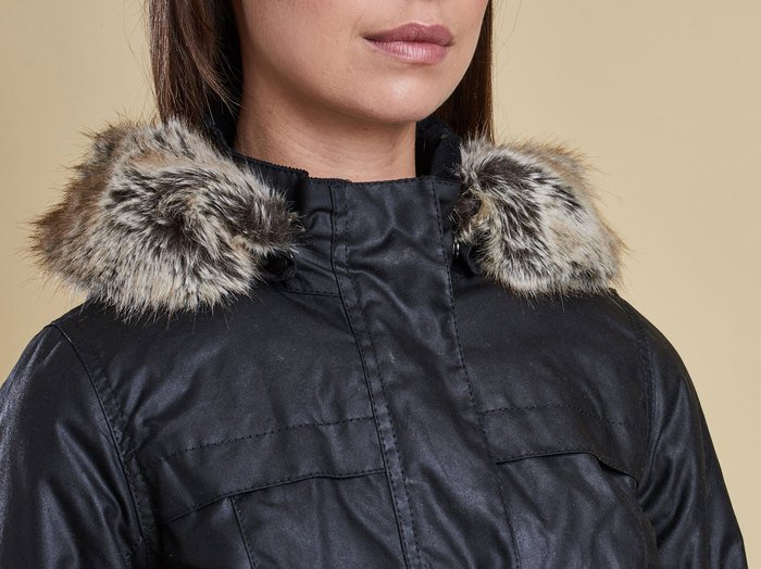 Genuine Barbour jacket with faux fur trim