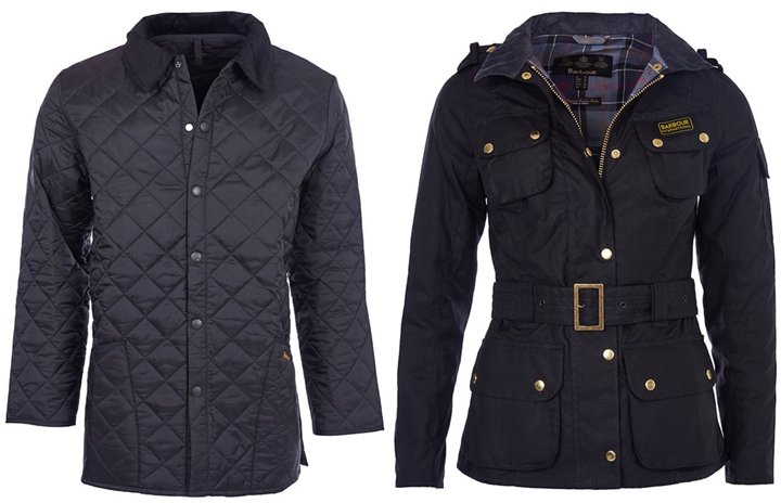 Men's Barbour Liddesdale Quilted Jacket and Women's Barbour International Wax Jacket.