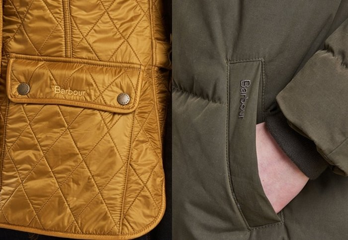Authentic Barbour jackets with stitched brand names in pockets