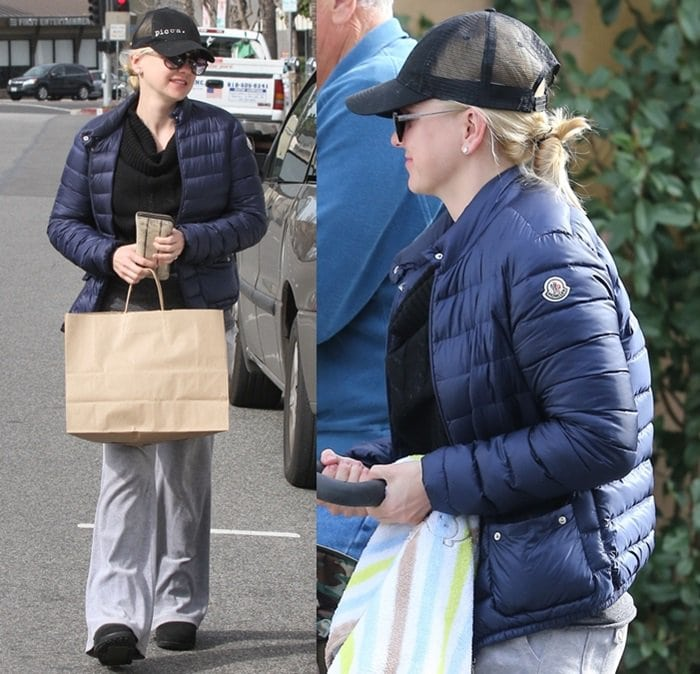 Anna Faris wearing a Moncler jacket