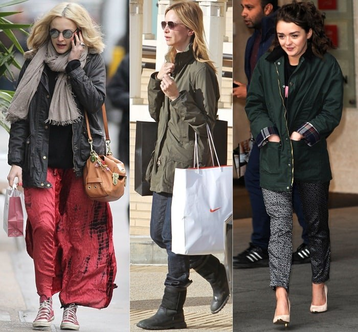 Fearne Cotton, Calista Flockhart, and Maisie Williams wearing Barbour jackets