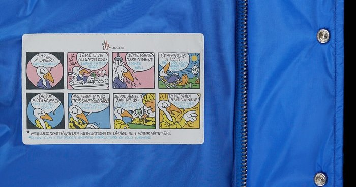 Not all Moncler jackets feature the cartoon strip label