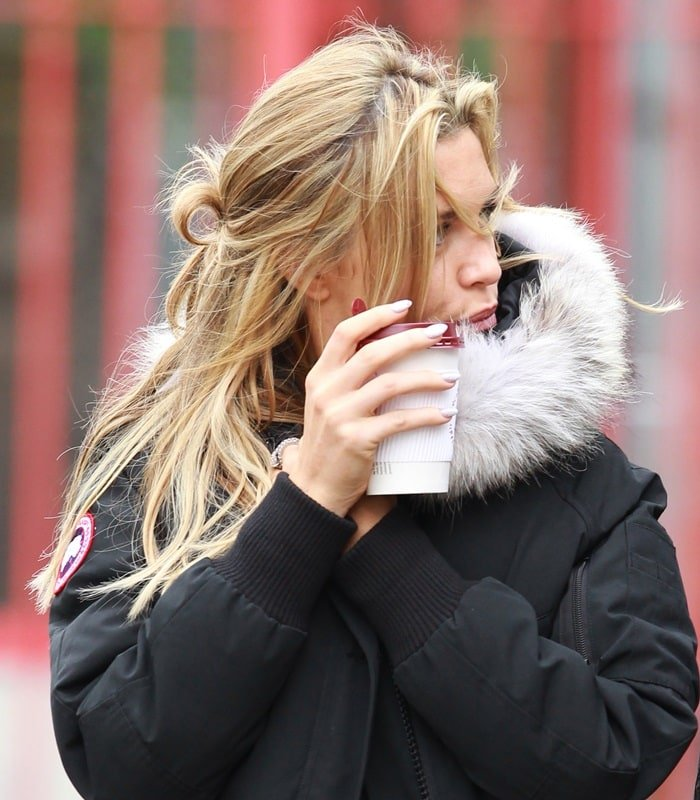Abbey Clancy wearing a Canada Goose Chilliwack coyote-trimmed coat
