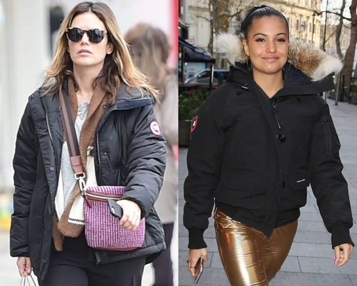 Rachel Bilson with the Canada Goose logo on her left arm and singer-songwriter Mabel McVey with the patch on her right arm