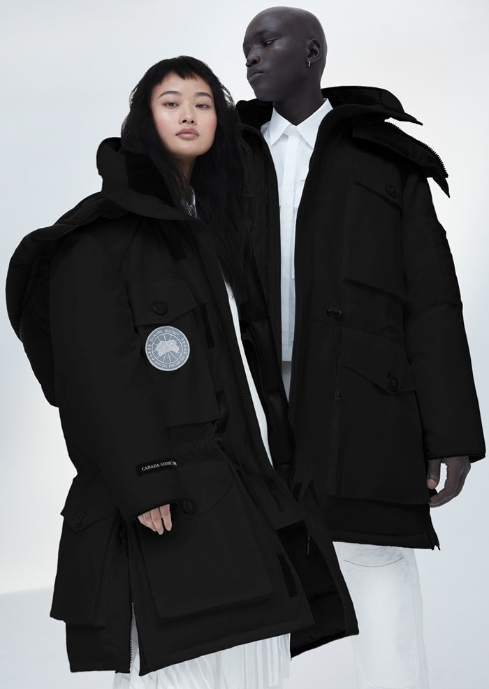 With exaggerated proportions and two oversized silver discs, our signature Expedition Parka is deconstructed and reworked for our collaboration with Korean designer Juun.J