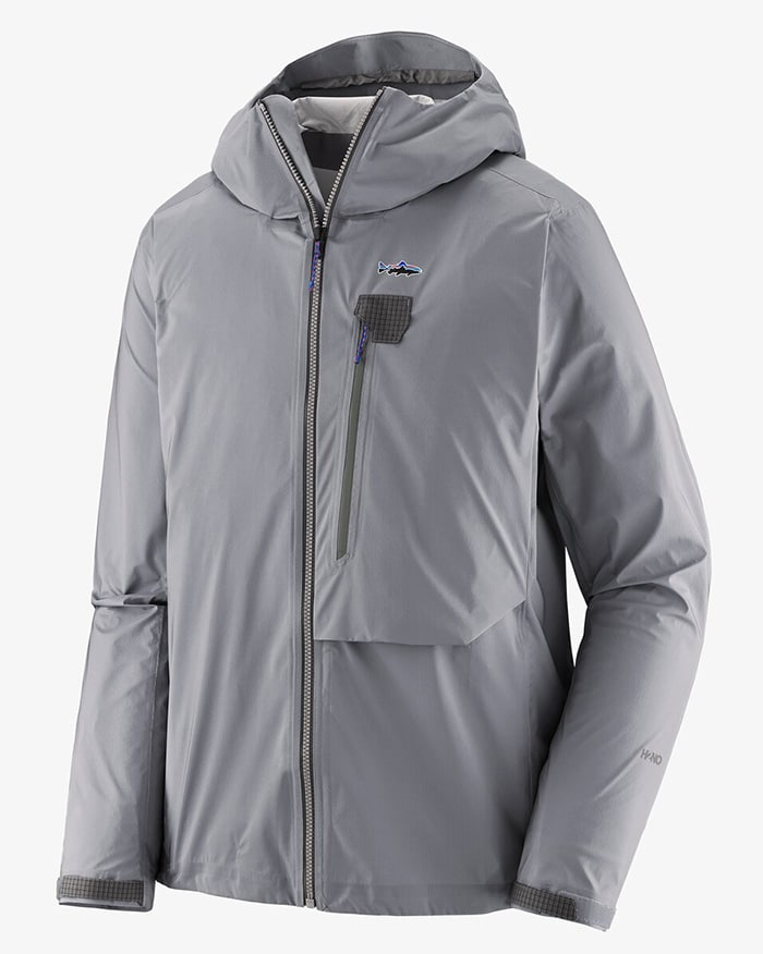 Waterproof, breathable, and lightweight, this jacket features a fly-box pocket, a brimmed hood, and angler-inspired detailing