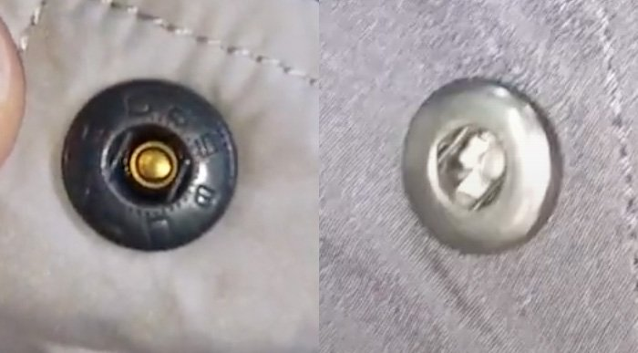 Screenshots from Voice of People Today YouTube channel comparing the backside of the buttons on real (left) and fake (right) Columbia jackets