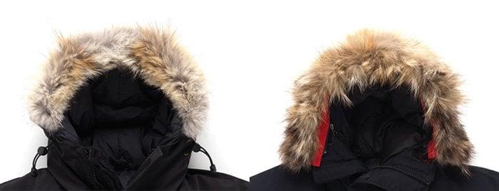 Authentic Canada Goose fur ruffs (left) versus counterfeit fur (right)